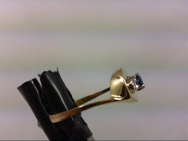 Sapphire Lady's Stone & Diamond Ring 2 Diamonds .02 Carat T.W. 18K Yellow Gold