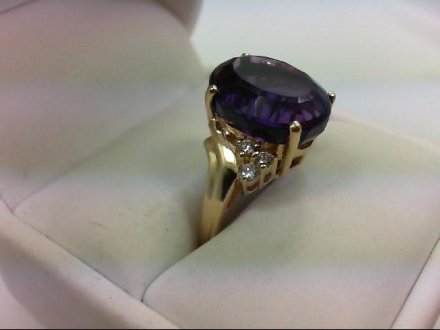 Amethyst Lady's Stone & Diamond Ring 6 Diamonds .24 Carat T.W. 14K Yellow Gold