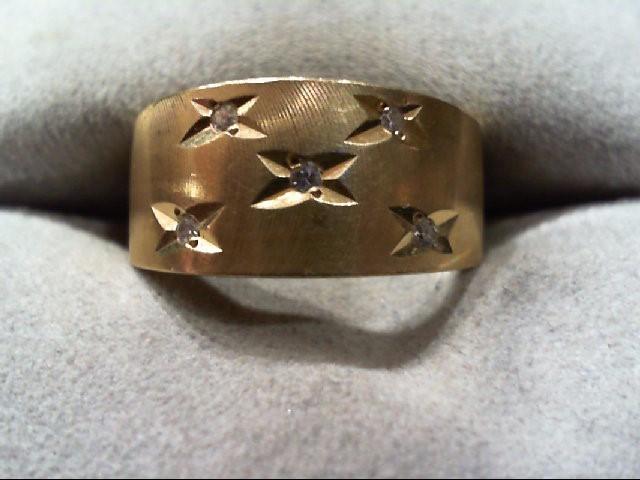 Lady's Diamond Wedding Band 5 Diamonds .05 Carat T.W. 14K Yellow Gold 5.7g