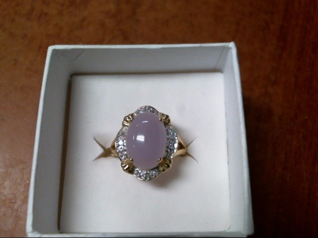 4.7G 14K YELLOW GOLD PURPLE JADE RING