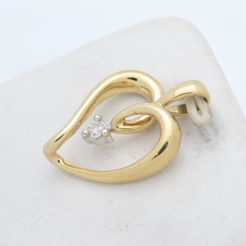 ESTATE DIAMOND HEART PENDANT CHARM SOLID 10K GOLD OPEN LOVE PROMISE