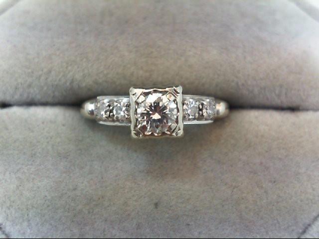 Lady's Diamond Engagement Ring 5 Diamonds .47 Carat T.W. 14K White Gold 2.6g