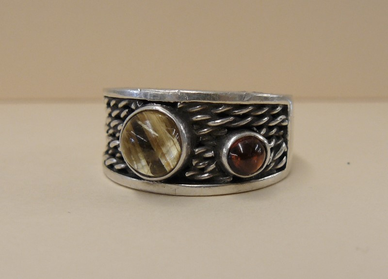 Heavy .925 Sterling Ring with Round Rutilated Quartz & Garnet