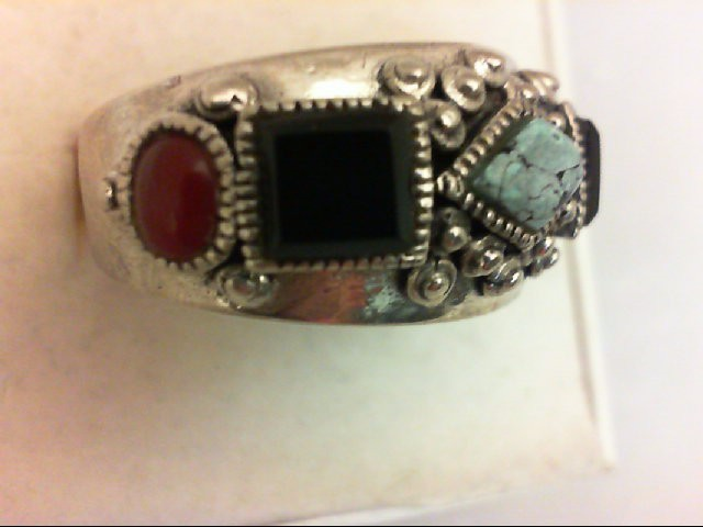Onyx Lady's Silver & Stone Ring 925 Silver 8g