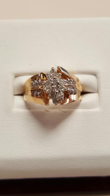 Lady's Diamond Cluster Ring 24 Diamonds 1.20 Carat T.W. 14K Yellow Gold 3.4dwt