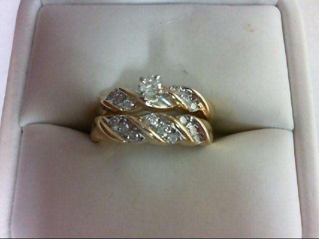 Lady's Diamond Wedding Set 16 Diamonds 0.4 Carat T.W. 10K Yellow Gold 5.2g Size: