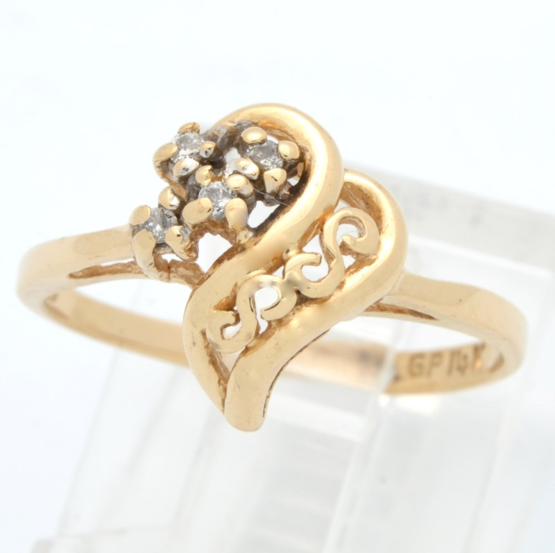 ESTATE DIAMOND HEART RING SOLID 14K GOLD LOVE PROMISE FILIGREE 6.25