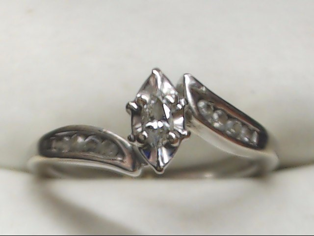 Lady's Diamond Engagement Ring 9 Diamonds .18 Carat T.W. 10K White Gold 2.6g