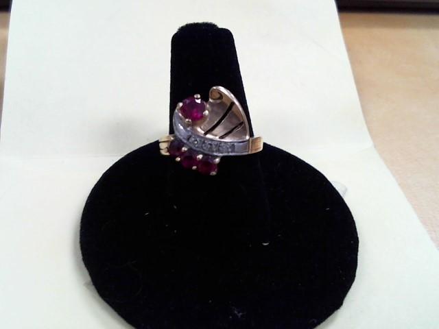 Synthetic Ruby Lady's Stone & Diamond Ring 4 Diamonds .04 Carat T.W.