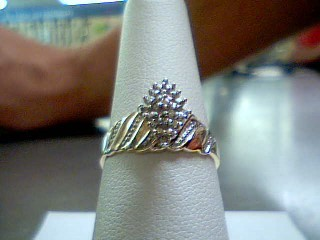 Lady's Diamond Cluster Ring 10 Diamonds .10 Carat T.W. 10K Yellow Gold 1.9g