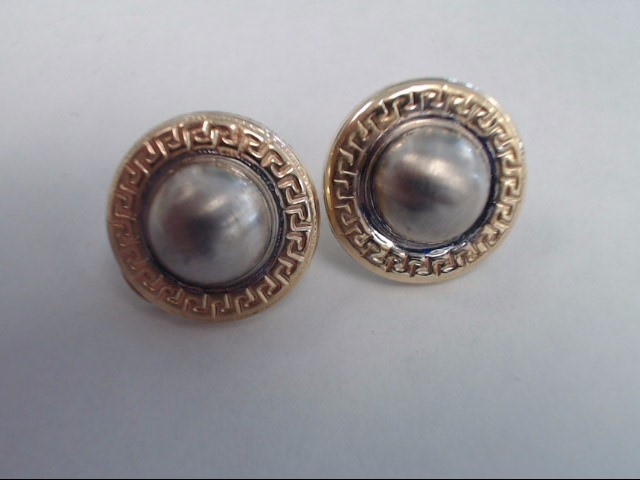 Gold Earrings 14K 2 Tone Gold 7.4g Resembles Mabe Pearls