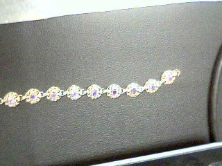 Synthetic Amethyst Gold-Stone Bracelet 14K Yellow Gold 10.6g