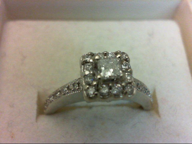 Lady's Diamond Engagement Ring 25 Diamonds .50Carat T.W. 14K White Gold 3.35g