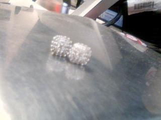 Gold-Diamond Earrings 42 Diamonds .86 Carat T.W. 14K White Gold 2g