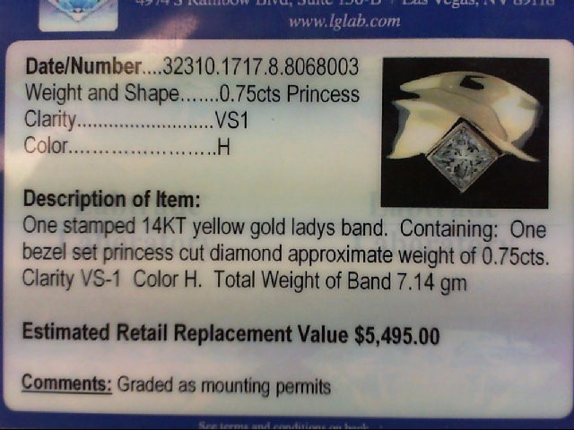 Lady's Diamond Wedding Band .75 CT. 14K Yellow Gold 7.14g