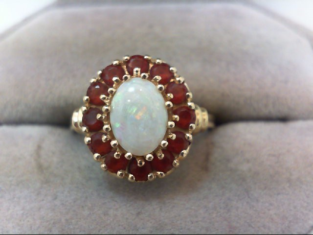 Synthetic Ruby Lady's Stone Ring 14K Yellow Gold 3.4g