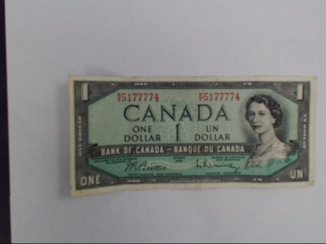 BANK OF CANADA Paper Money - World 1954 DOLLAR