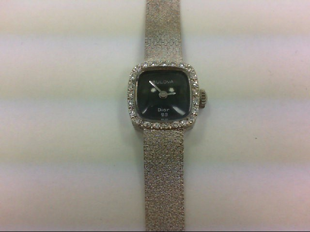 BULOVA Lady's Wristwatch DIOR 23 24 Diamonds 0.24 Carat T.W. 14K White Gold 20.7