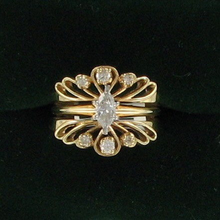 Lady's Diamond Wedding Set 7 Diamonds .92 Carat T.W. 14K Yellow Gold 4.5dwt