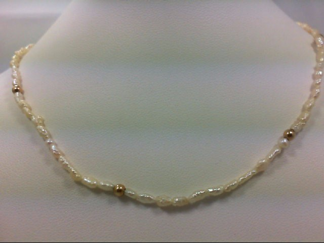 "18"" Pearl Strand Stone Necklace 14K Yellow Gold 3.4g"