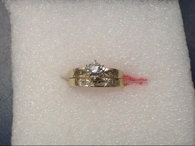 Lady's Diamond Wedding Set .01 CT. 14K Yellow Gold 2.73dwt