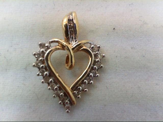 Gold-Multi-Diamond Pendant 24 Diamonds .24 Carat T.W. 10K Yellow Gold 1g