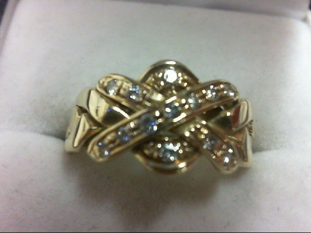 Lady's Diamond Cluster Ring 13 Diamonds 0.26 Carat T.W. 14K Yellow Gold 4.2g