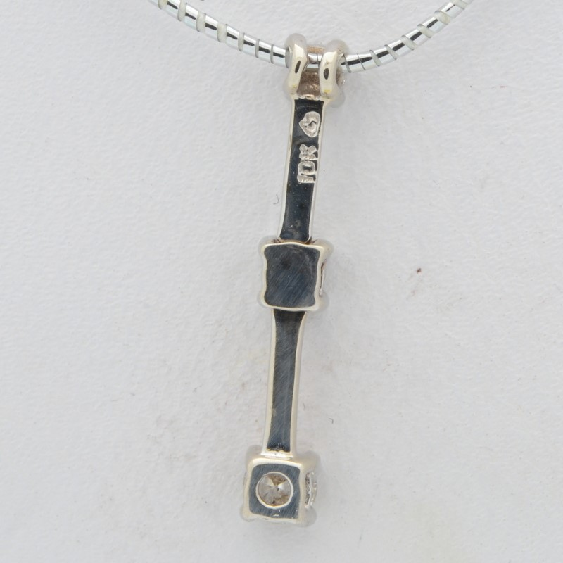DIAMOND PENDANT CHARM SOLID REAL 10K WHITE GOLD PAST PRESENT FUTURE