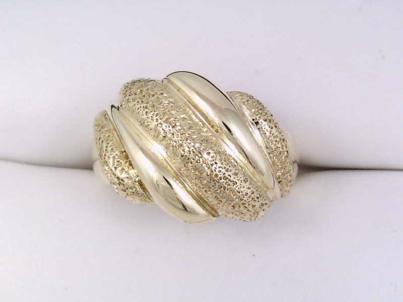 Estate Fine 14k Yellow Gold Dome Ring Fashion Textured 7.3g Size 7