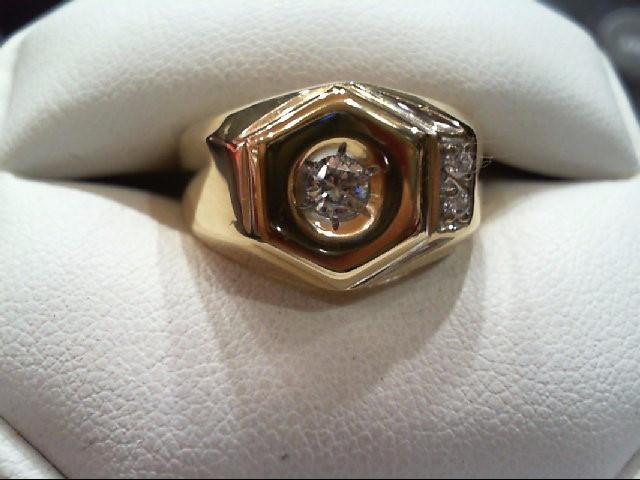 Gent's Gold-Diamond Wedding Band 3 Diamonds .26 Carat T.W. 14K Yellow Gold 8.4g