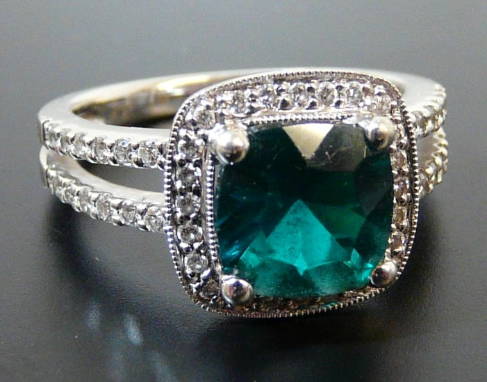 Cushion Cut Lab Created 8mm Emerald & Diamond Ring 14kt White Gold