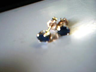 Synthetic Sapphire Gold-Stone Earrings 14K Yellow Gold 3.3g