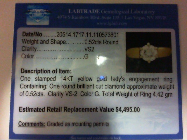 Lady's Diamond Engagement Ring .52 CT. 14K Yellow Gold 4.42g