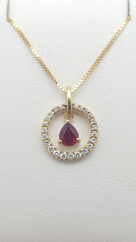 "18"" Ruby Diamond & Stone Necklace 23 Diamonds .23 Carat T.W. 14K Yellow Gold"