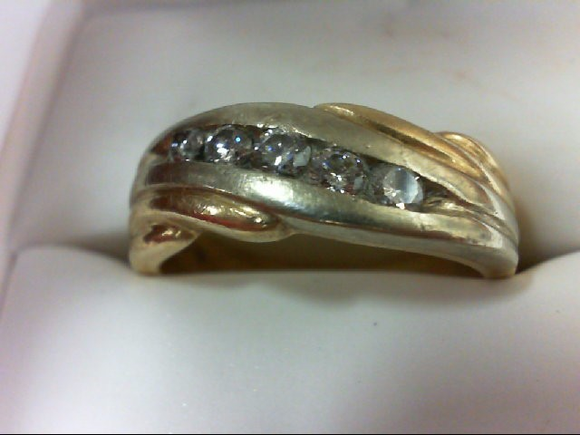 Gent's Gold-Diamond Wedding Band 5 Diamonds 0.48 Carat T.W. 10K 2 Tone Gold 7.2g