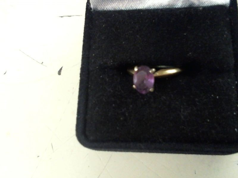 Synthetic Amethyst Lady's Stone Ring 14K Yellow Gold 1.8g