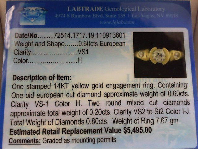 Lady's Diamond Engagement Ring 3 Diamonds .80 Carat T.W. 14K Yellow Gold 7.67g