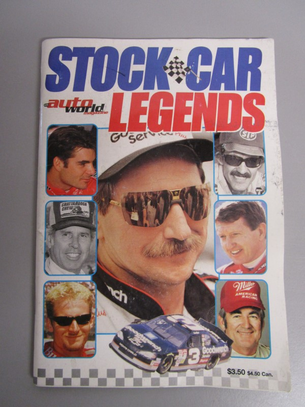 STOCK CAR LEGENDS BOOKLET, ATUO WORLD MAGAZINE, EARNHARDT, PETTY, 96 PAGES