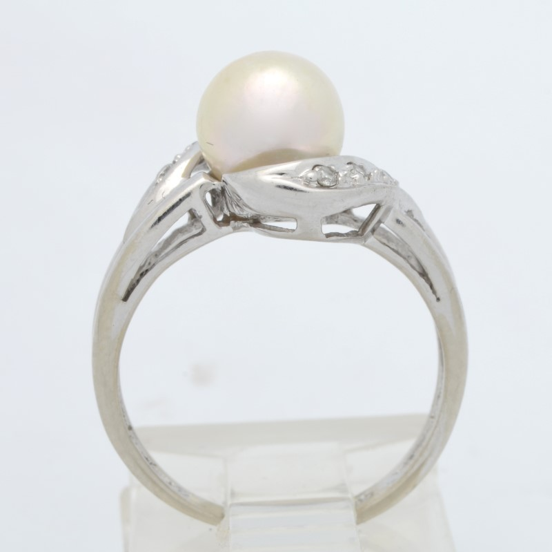 ESTATE PEARL DIAMOND RING SOLID 14K WHITE GOLD COCKTAIL SIZE 4.75