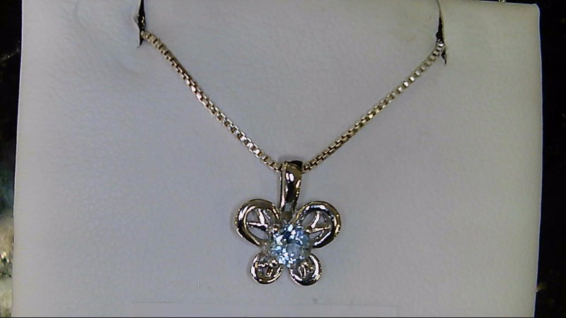 NEW SS AQUA-MAR BIRTHSTONE BUTTERFLY PENDANT