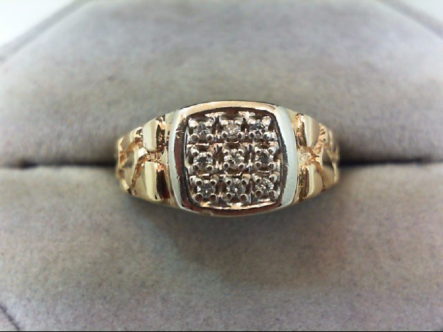 Gent's Diamond Cluster Ring 9 Diamonds .09 Carat T.W. 14K Yellow Gold 5.1g