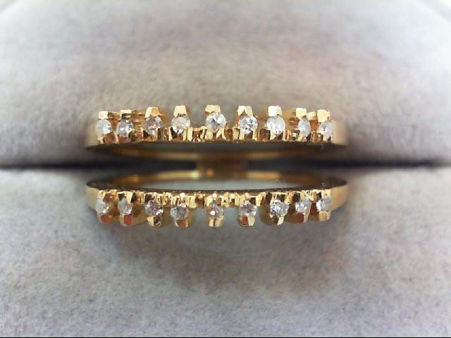 Lady's Gold-Diamond Ring Guard 18 Diamonds .18 Carat T.W. 18K Yellow Gold 4.6g