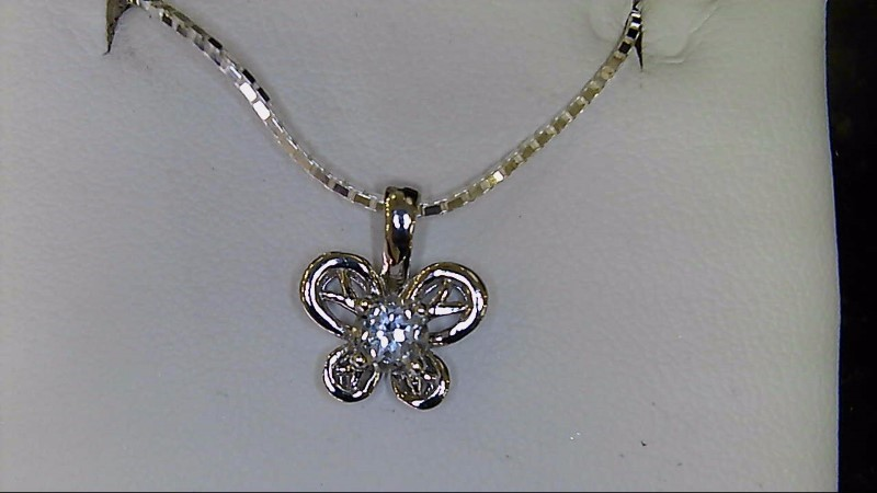 NEW SS WHITE TOPAZ-APRIL BIRTHSTONE BUTTERFLY PENDANT