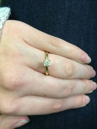 Lady's Diamond Solitaire Ring .38 CT. 14K Yellow Gold 1.8g Size:7
