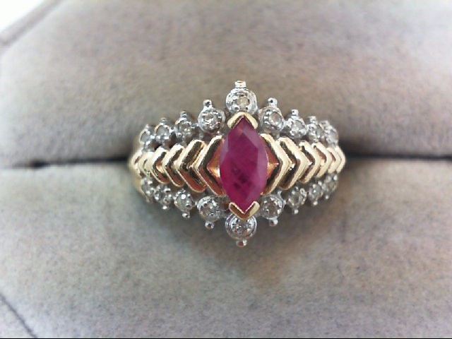 Ruby Lady's Stone Ring 10K Yellow Gold 2.7g