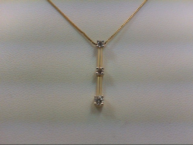 Gold-Multi-Diamond Pendant 3 Diamonds .21 Carat T.W. 14K Yellow Gold 1.7g