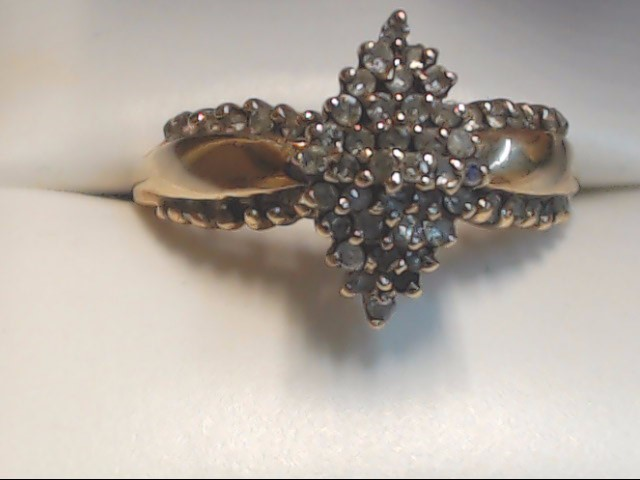 Lady's Diamond Cluster Ring 61 Diamonds .61 Carat T.W. 10K Yellow Gold 3g