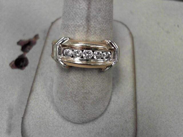 Gent's Diamond Fashion Ring 5 Diamonds .50 Carat T.W. 10K Yellow Gold 7.76g