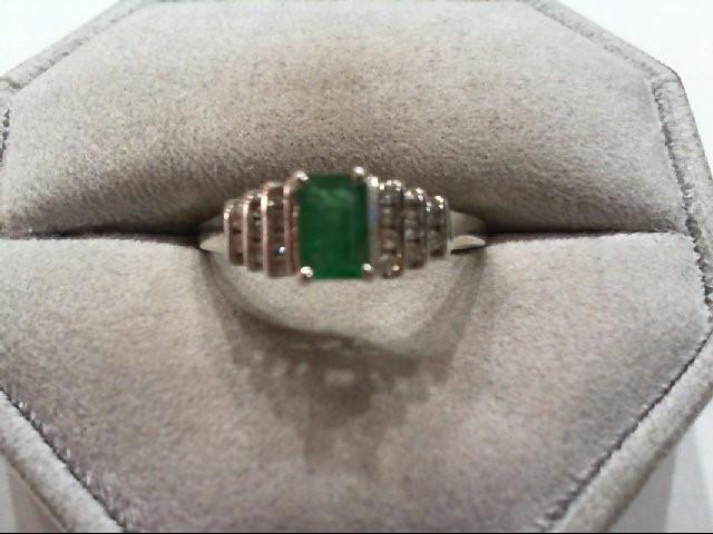 Emerald Lady's Stone & Diamond Ring 18 Diamonds .18 Carat T.W. 14K White Gold