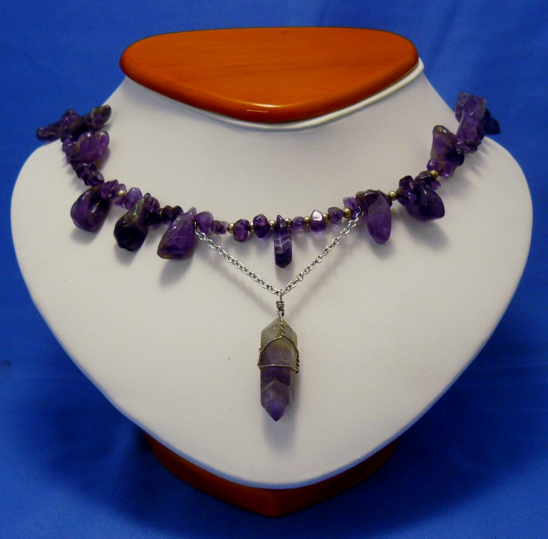 """24"""" Tumble-Polished Amethyst Necklace with Faceted Crystal Centerpiece"""